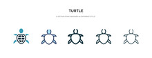 Turtle Icon In Different Style Vector Illustration. Two Colored And Black Turtle Vector Icons Designed In Filled, Outline, Line And Stroke Style Can Be Used For Web, Mobile, Ui