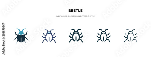 Cuadros en Lienzo beetle icon in different style vector illustration