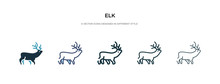 Elk Icon In Different Style Ve...