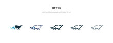 Otter Icon In Different Style Vector Illustration. Two Colored And Black Otter Vector Icons Designed In Filled, Outline, Line And Stroke Style Can Be Used For Web, Mobile, Ui