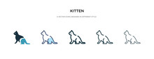 Kitten Icon In Different Style Vector Illustration. Two Colored And Black Kitten Vector Icons Designed In Filled, Outline, Line And Stroke Style Can Be Used For Web, Mobile, Ui
