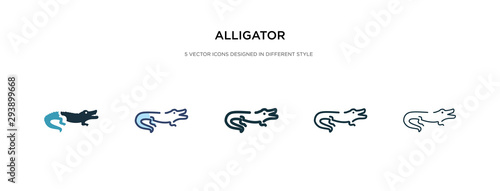 Photo alligator icon in different style vector illustration