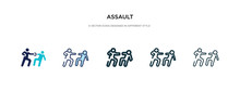 Assault Icon In Different Style Vector Illustration. Two Colored And Black Assault Vector Icons Designed In Filled, Outline, Line And Stroke Style Can Be Used For Web, Mobile, Ui