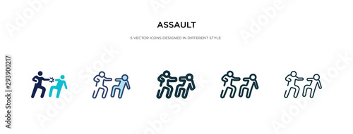 Canvastavla assault icon in different style vector illustration