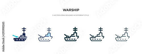 Photo warship icon in different style vector illustration