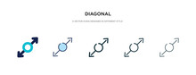 Diagonal Icon In Different Style Vector Illustration. Two Colored And Black Diagonal Vector Icons Designed In Filled, Outline, Line And Stroke Style Can Be Used For Web, Mobile, Ui