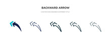 Backward Arrow Icon In Different Style Vector Illustration. Two Colored And Black Backward Arrow Vector Icons Designed In Filled, Outline, Line And Stroke Style Can Be Used For Web, Mobile, Ui