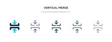Vertical Merge Icon In Different Style Vector Illustration. Two Colored And Black Vertical Merge Vector Icons Designed In Filled, Outline, Line And Stroke Style Can Be Used For Web, Mobile, Ui