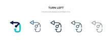 Turn Left Icon In Different Style Vector Illustration. Two Colored And Black Turn Left Vector Icons Designed In Filled, Outline, Line And Stroke Style Can Be Used For Web, Mobile, Ui