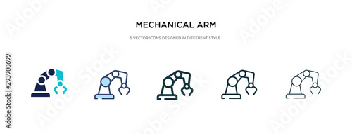 Fototapeta mechanical arm icon in different style vector illustration. two colored and black mechanical arm vector icons designed in filled, outline, line and stroke style can be used for web, mobile, ui obraz