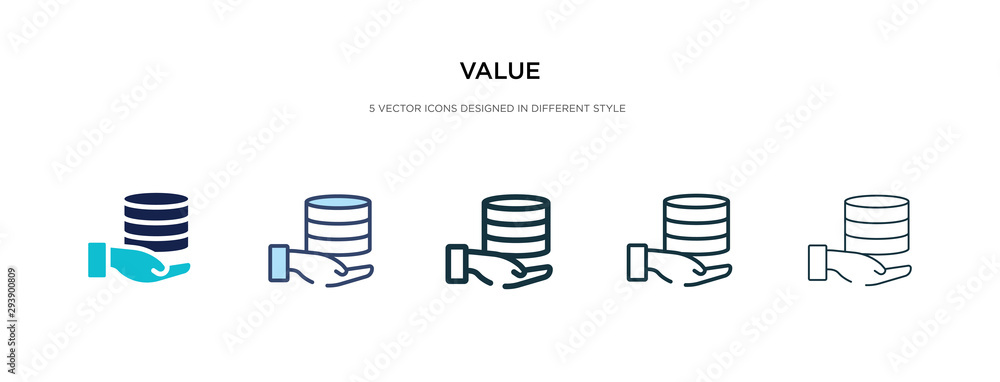 Fototapeta value icon in different style vector illustration. two colored and black value vector icons designed in filled, outline, line and stroke style can be used for web, mobile, ui