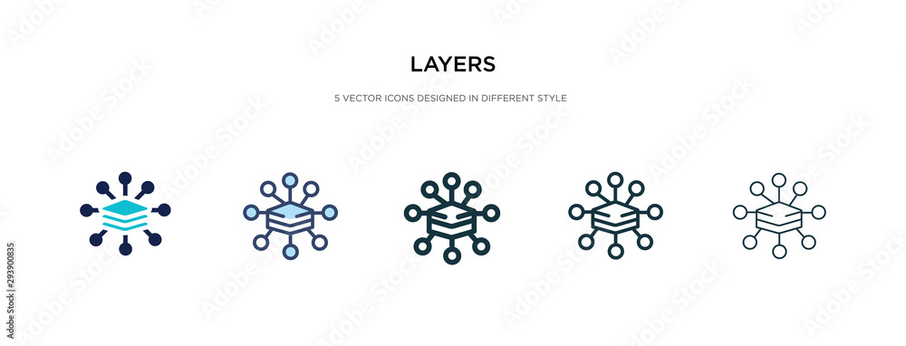 Fototapety, obrazy: layers icon in different style vector illustration. two colored and black layers vector icons designed in filled, outline, line and stroke style can be used for web, mobile, ui