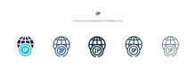 Ip Icon In Different Style Vec...