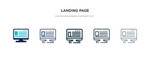 Landing Page Icon In Different Style Vector Illustration. Two Colored And Black Landing Page Vector Icons Designed In Filled, Outline, Line And Stroke Style Can Be Used For Web, Mobile, Ui