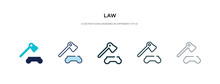 Law Icon In Different Style Vector Illustration. Two Colored And Black Law Vector Icons Designed In Filled, Outline, Line And Stroke Style Can Be Used For Web, Mobile, Ui