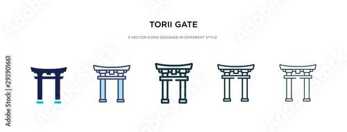 Fotografia torii gate icon in different style vector illustration