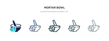 Mortar Bowl Icon In Different Style Vector Illustration. Two Colored And Black Mortar Bowl Vector Icons Designed In Filled, Outline, Line And Stroke Style Can Be Used For Web, Mobile, Ui