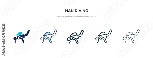 Canvastavla man diving icon in different style vector illustration