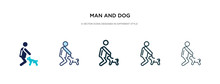 Man And Dog Icon In Different Style Vector Illustration. Two Colored And Black Man And Dog Vector Icons Designed In Filled, Outline, Line Stroke Style Can Be Used For Web, Mobile, Ui