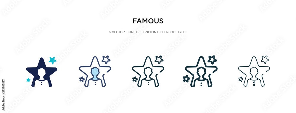 famous icon in different style vector illustration. two colored and black famous vector icons designed in filled, outline, line and stroke style can be used for web, mobile, ui <span>plik: #293902887 | autor: zaurrahimov</span>
