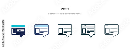 Obraz post icon in different style vector illustration. two colored and black post vector icons designed in filled, outline, line and stroke style can be used for web, mobile, ui - fototapety do salonu