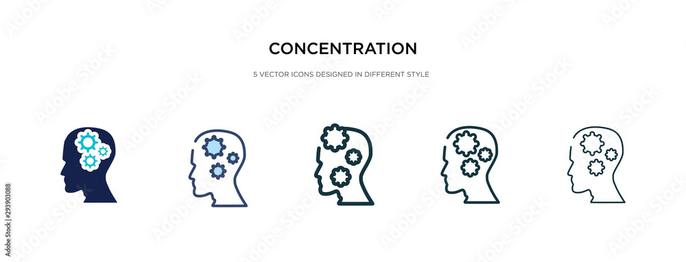 Fototapeta concentration icon in different style vector illustration. two colored and black concentration vector icons designed in filled, outline, line and stroke style can be used for web, mobile, ui