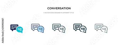 conversation icon in different style vector illustration. two colored and black conversation vector icons designed in filled, outline, line and stroke style can be used for web, mobile, ui