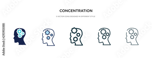 Foto concentration icon in different style vector illustration
