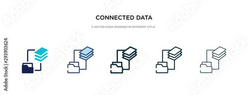 Obraz connected data icon in different style vector illustration. two colored and black connected data vector icons designed in filled, outline, line and stroke style can be used for web, mobile, ui - fototapety do salonu