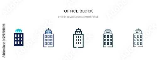 Fototapeta office block icon in different style vector illustration. two colored and black office block vector icons designed in filled, outline, line and stroke style can be used for web, mobile, ui obraz
