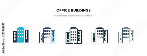 office buildings icon in different style vector illustration. two colored and black office buildings vector icons designed in filled, outline, line and stroke style can be used for web, mobile, ui