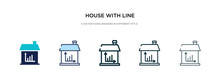 House With Line Chart Icon In Different Style Vector Illustration. Two Colored And Black House With Line Chart Vector Icons Designed In Filled, Outline, Line And Stroke Style Can Be Used For Web,
