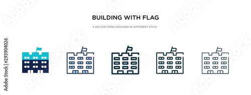 Billede på lærred building with flag icon in different style vector illustration