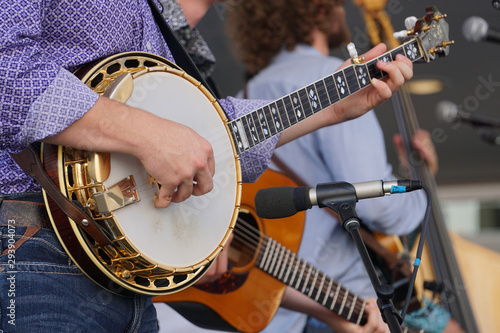 Slika na platnu Banjo player in a bluegrass band