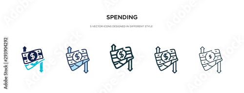 Fotografía spending icon in different style vector illustration