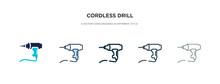 Cordless Drill Icon In Differe...