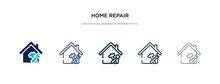 Home Repair Icon In Different Style Vector Illustration. Two Colored And Black Home Repair Vector Icons Designed In Filled, Outline, Line And Stroke Style Can Be Used For Web, Mobile, Ui