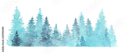 Foto auf AluDibond Pool Beautiful watercolor coniferous forest illustration, Christmas fir trees, winter nature, holiday background, conifer, snow, outdoor, snowy rural landscape.