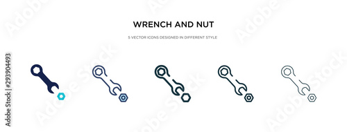 Photo  wrench and nut icon in different style vector illustration