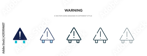 Fotografia warning icon in different style vector illustration