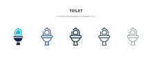 Toilet Icon In Different Style Vector Illustration. Two Colored And Black Toilet Vector Icons Designed In Filled, Outline, Line And Stroke Style Can Be Used For Web, Mobile, Ui