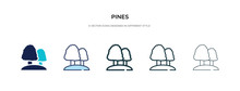 Pines Icon In Different Style Vector Illustration. Two Colored And Black Pines Vector Icons Designed In Filled, Outline, Line And Stroke Style Can Be Used For Web, Mobile, Ui