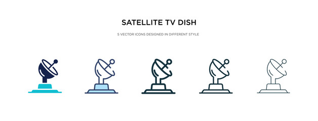satellite tv dish icon in different style vector illustration. two colored and black satellite tv dish vector icons designed in filled, outline, line and stroke style can be used for web, mobile, ui