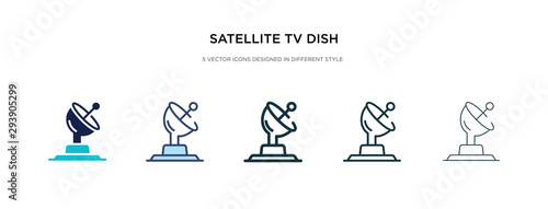 Obraz satellite tv dish icon in different style vector illustration. two colored and black satellite tv dish vector icons designed in filled, outline, line and stroke style can be used for web, mobile, ui - fototapety do salonu