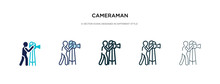 Cameraman Icon In Different Style Vector Illustration. Two Colored And Black Cameraman Vector Icons Designed In Filled, Outline, Line And Stroke Style Can Be Used For Web, Mobile, Ui