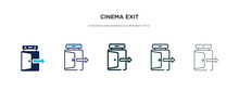 Cinema Exit Icon In Different Style Vector Illustration. Two Colored And Black Cinema Exit Vector Icons Designed In Filled, Outline, Line And Stroke Style Can Be Used For Web, Mobile, Ui