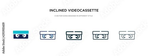 Valokuva inclined videocassette icon in different style vector illustration