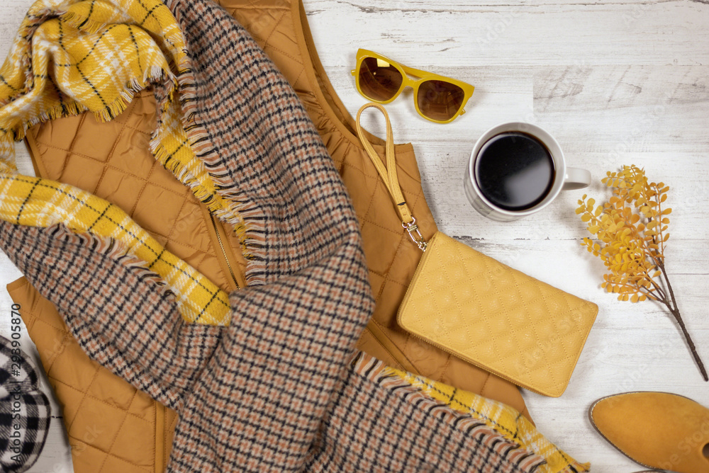 Fototapety, obrazy: Fall clothing flat lay in mustard yellow color palette