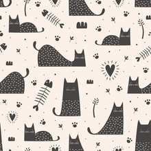 Cute Black Cats Seamless Pattern With Hand Drawn Childish Style. Vector Illustration Vintage Trendy Design.
