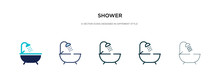 Shower Icon In Different Style Vector Illustration. Two Colored And Black Shower Vector Icons Designed In Filled, Outline, Line And Stroke Style Can Be Used For Web, Mobile, Ui